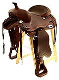 Baumloser Westernsattel OMAHA aus geöltem Büffelleder, Full Quarter, Größe:16 Zoll