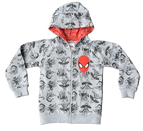 Boys - Marvel Spiderman Full Printed Hoodie Jumper[3-4 Years][Grey]