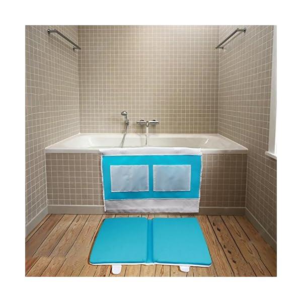 Care Baby Bath Kneeler Safety Baby Bath Kneeler Pad and Elbow Rest Detachable Bathtub Comfort Folded, Blue