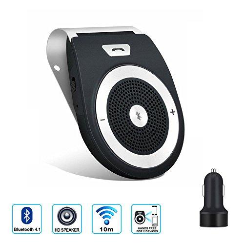 SUPRBIRD Bluetooth 4.1 Kfz Freisprecheinrichtung Bluetooth Auto Freisprechanlage Visier Car Kit mit Mikrofon, Unterstützt GPS, Musik, Handsfree für 2 Telefone gleichzeitig - Wireless Sun Visor Speakerphone (BLACK)