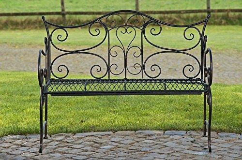 formschöne Gartenbank im Landhausstil aus Eisen / Metall Sitzbank mit Ornamenten bronzefarben 2-3er Parkbank Antikes Design - 3