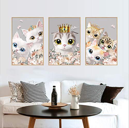 Sixcup®Nette Katze Thema Wandaufkleber Familienzimmer Fenster Fototapete Dekorative Aufkleber Abnehmbar Kinderzimmer Dekoration Aufkleber (B)