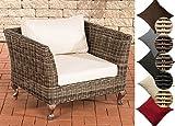 CLP Poly-Rattan Garten-Lounge-Sessel MOSS, ALU Gestell, 100% rostfrei, 5 mm RUND-Rattan Rattanfarbe: Grau-meliert, Bezugfarbe: Cremeweiß