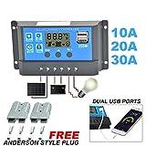 Yuyoug Intelligenter Solarladeregler, Display, Überlastschutz, Temperaturausgleich, inklusive 2 Anderson-Stecker, 10A/20A/30A, 12V-24V