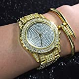 Schöne Uhren, Damen Modeuhr socken-Uhr Einzigartige kreative Uhr sockenuhren für den Alltag Simulierter Diamant Uhr Pavé-Uhr Chinesisch Quartz ( Farbe : Golden yellow , Geschlecht : Für Damen )