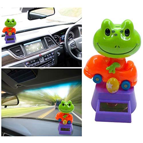 XdremYU Nettes Autodekoration Innenraum Innenzubehör Autoverzierungs Zubehör Geschenk Kreative Kunststoff Solar Power Frosch Auto Ornament Flip Flap Pot Swing Kinder Spielzeug