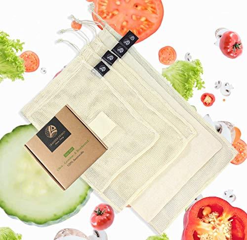 LEANDER DESIGN Stabile Obst- und Gemüsebeutel 5er Set aus 100% Baumwolle Wiederverwendbare und nachhaltige Einkaufsnetze mit Gewichtsangabe - INKL. Brotbeutel Obst Design