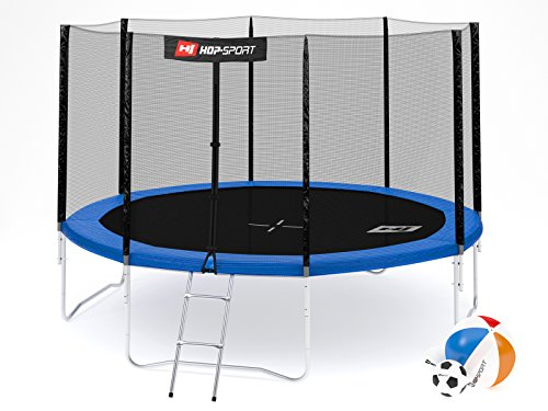 Hop-Sport Gartentrampolin 244, 305, 366, 430, 490 cm Komplettset inkl. Außennetz Leiter Wetterplane Erdanker Blau (366 cm)