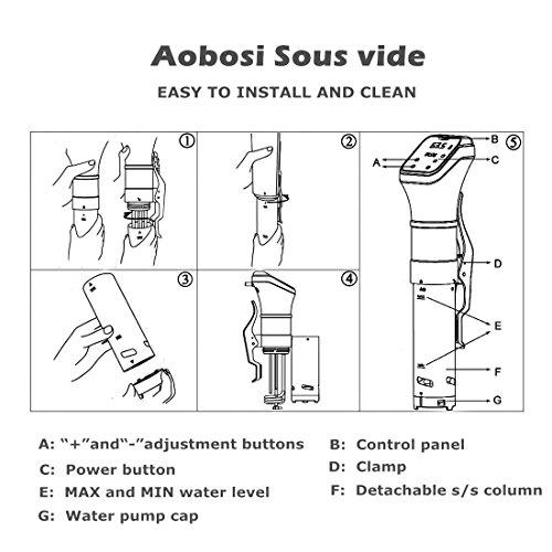 Aobosi Sous Vide Präzisionskochtopf Immersion Zirkulator IPX7 Wasserdichter Immersions-Zirkulator-Schnellkocher mit großer Digital-LED-Anzeige, Edelstahl, 800W starker Betrieb, Schwarz, - 8
