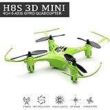 EACHINE H8S 3D Mini Cuadricóptero Drone Inverted Flight 3D Flip 360° Rolling 2.4G 4CH 6Axis One Key Return Remoto Controlado Nano Quadcopter RTF Modo 2( Verde)