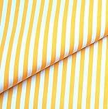 0,5m Streifen-Stoff 5mm gelb/ weiß
