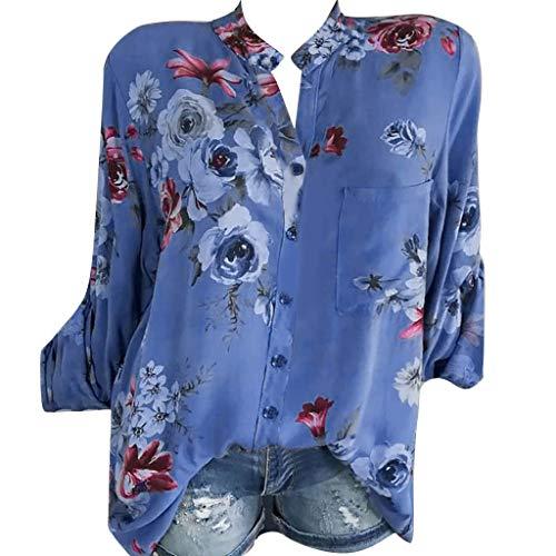 Shirts Shirt Hemd Bluse Knöpfe S~5xl Plus Damen Tops Größe Blumen Ausschnitt Langarm Freizeit V Absoar Drucken Blusen Frauen Tunika SMzqGjVLUp