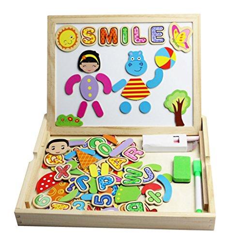 Lavagna Magnetica Lavagnette in Legno con Contenitore 90 Pezzi Numerato Alfabeto Animali Facce Magneti Giochi per i Bambini Oltre 3 Anni