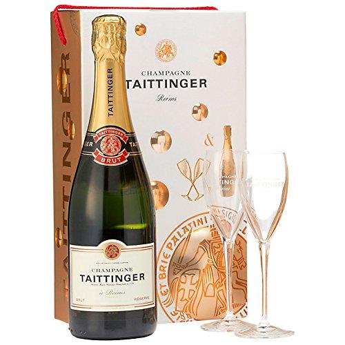 Taittinger Champagner 0,75l Brut Réserve mit zwei Gläser im Geschenkkarton - Geschenkset
