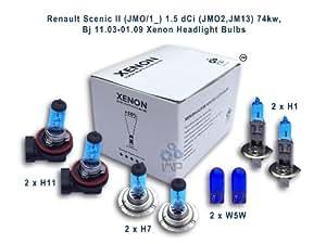 Renault Scenic II (JMO 1_/ 1.5 dCi), (JMO2 JM13 74kw 11.) Bj 03-01.09 ampoules pour phares Xénon H1/H7 H11, W5W