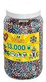 Hama 211-90 Bügelperlen Midi, ca. 13.000 Stück in Dose, 6 Verschiedene, gestreifte Farben, Mehrfarbig