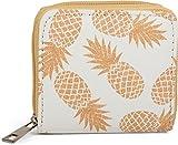 styleBREAKER Mini Geldbörse mit Ananas Muster, umlaufender Reißverschluss, Portemonnaie, Damen 02040097, Farbe:Weiß-Orange