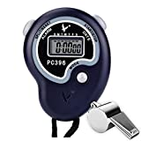 Paxcoo Digital Referee Sport Stopwatch with Stainless Steel Whistle