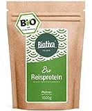 polvere proteica riso Bio (1 kg) - 80% di proteine- vegan fonte di proteine   senza additivi - glutine, soia e lattosio - alta quota BCAA - bottiglia e controllate in Germania (DE-ÖKO-005)