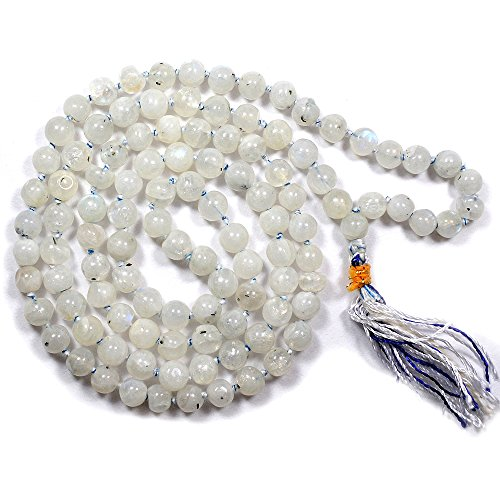 Reiki Crystal Products Rainbow Moonstone 108 Round Bead 6 mm Crystal / Stone Mala / Necklace for Unisex