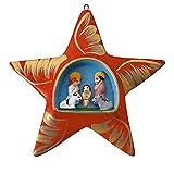 Weihnachtsdeko aus Ton Krippe Stern zum Aufhängen - Fair Trade (rot)