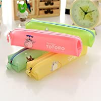 RuleaxAsi Cute Jelly Soft Waterproof Pen Pencil Case Zipper Stationery Bag Lovely Cat Pattern for Girls School Students