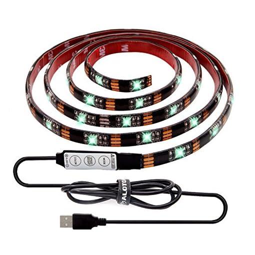 ALOTOA-Bias-Lighting-per-HDTV-150cm-5v-Alimentazione-USB-impermeabile-striscia-luminosa-a-LEDMulti-colore-RGB-LED-TV-Retroilluminazione-per-TV-a-schermo-piatto-LCD-HDTV-desktop-PC-Monitor-Outdoor