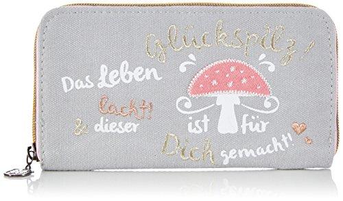 Adelheid Glückspilz m. Spruch Geldbeutel groß 11150135357 Damen Geldbörsen 20x10x2 cm (B x H x T), Grau (silbergrau 934)