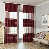 Proumy Vorhang aus Tüll, durchsichtig, gestreift, für Fenster, braun, 200cm x 100cm