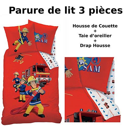 SAM LE POMPIER - Parure de lit (3pcs) - Housse de Couette (140x200) + Taie d'Oreiller (63x63) + Drap housse (90x190) - Fireman sam