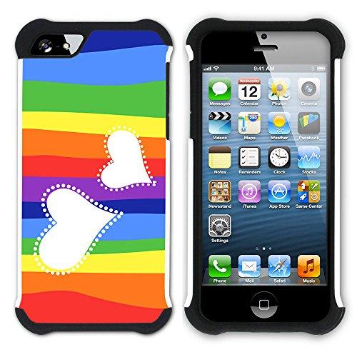 Graphic4You Herz Liebe Romantisch Regenbogen Niedlich Design Hart + Weiche Kratzfeste Hülle Case Schale Tasche Schutzhülle für Apple iPhone SE / 5 / 5S Design #4