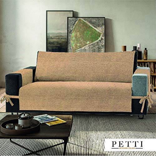 Petti, artigiani italiani - copridivano 2 posti beige, 100% made in italy, con elastici e tasche laterali (beige, 2 posti (120-125 cm da bracciolo a bracciolo))