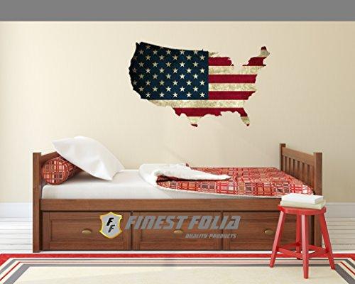 Wandtattoo USA Flagge Old , Modern 6 Größen Aufkleber Sticker Deko Amerika Folie (80 cm Länge 48 cm Höhe, Old) (Usa Aufkleber Wandtattoo)