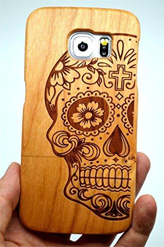 collecte de bois Coque Galaxy S6 Coque de Protection pour Samsung Galaxy S6 (Cerisier Crâne) (TM) Étui de Protection en Bois et Couverture de Téléphone pour Votre Smartphone et Tablette