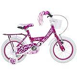 14 Zoll Hi5Emily Kinderfahrrad mit Rücktritt Stützräder und Gepäckträger Pink Weiss Lila, Farbe:pink