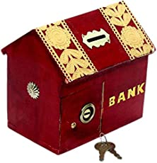 UniqueKrafts Handmade Wooden Hut Shaped Money Bank Red Colored with Gotta Work | Coin Box | Money Bank for Coins and Money for Kids and Adult