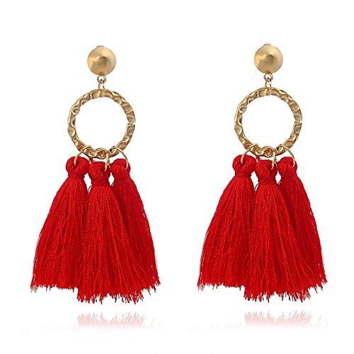 Beydodo Frauen Ohrhänger Ohrringe Vergoldet Rot Wolle Quaste Vintage Gold Ohrringe Hochzeit für Frauen (Vintage 13 Wolle)
