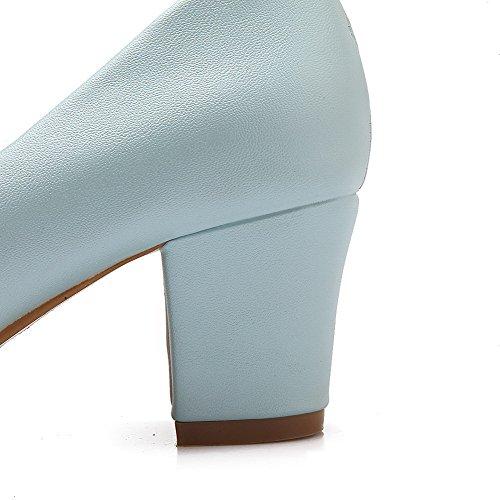 AllhqFashion Femme Tire Pu Cuir Rond à Talon Correct Couleur Unie Chaussures Légeres Bleu