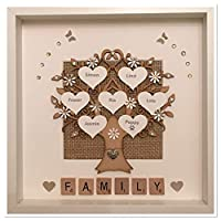Personalised Shimmer Neutral Beige Scrabble Family Tree 3D Box Picture Frame Up To 14 Names
