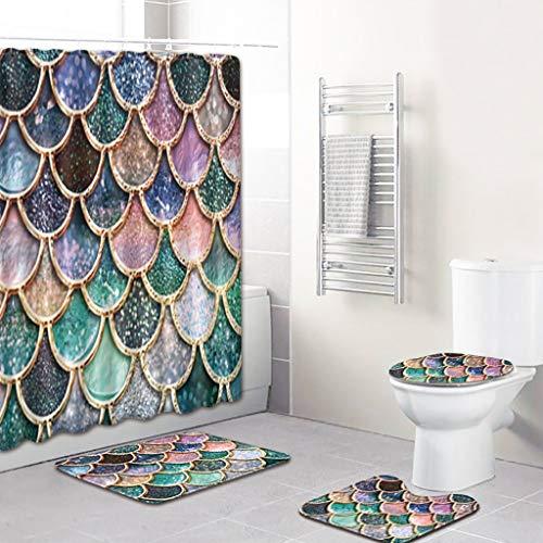 Scrolor Teppich für Haus Boden Teppiche Vorhang für Bad Dusche Bunte Fischschuppe Toilette Set 4 stücke U Pad Sitz Deckel(Polyesterfaser,Wie Gezeigt) (Bad Sitz Deckel Und Teppich Set)