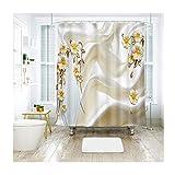 DOLOVE 3D Duschvorhang Vintage Bad Vorhang 120x180 Blumen Badvorhang Vintage Duschvorhang Aus Polyester Duschvorhang