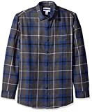 Amazon Essentials Camicia in Flanella Scozzese a Maniche Lunghe Uomo, Blu (Blue/Charcoal Heather Plaid), Large