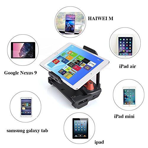 KUUQA Aluminium-legierter faltbarer Tablet Halterung Erweiterung - Controller Joystick Daumen Clip und Tragegurt Halsband für Mavic Pro Dji Spark Fernbedienung (DJI Mavic nicht enthalten)