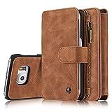 Roreikes Multi-function Wallet Case Hülle 2 in 1 Detachable Leather hülle Tasche Schutzhülle Etui Flip Wallet Stand Cover mit Kartenfächer für Samsung Galaxy S6 Edge - Braun