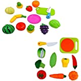 Speoma New Fruits And Vegetables Cutting Learning And Playing Role Play Toys Set For Kids (combo)