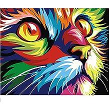 Lamlzzoo Cuadro Gato DIY Pintura por Números Arte de la Pared Moderna Imagen Pintada a Mano