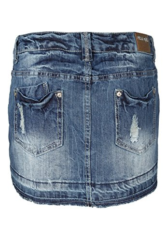 Fresh Made Damen Jeansrock mini | Jeans Minirock aus hochwertigem Denim Middle Blue