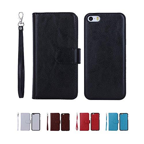 """F8Q luxe PU Housse en cuir Wallet Card Housse de protection amovible Flip pour Apple iPhone 6 Plus 5.5 """" Bleu"""