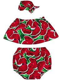 KolyLas muchachas sin mangas de la sandía del bebé recién nacido + la ropa de los equipos de la venda 3PCS de los pantalones de los pantalones cortos