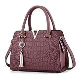 YULAND Handtasche Schultertasche Brusttasche, Damen Quaste Crossbody Taschen Leder Handtasche Alligator Muster Schultertasche (Lila)